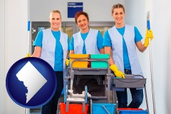 washington-dc map icon and commercial cleaning service